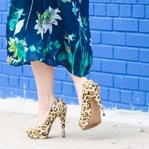 Aldo calf hair leopard heels